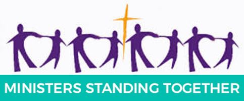 The MST logo contains: Jesus's cross in between 8 ministers linking hands. Text underneath: Ministers Standing Together.